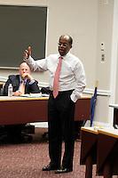 Roger Ferguson, President and CFO for TIAA-CREF, was a quest speaker for Darden's Leadership speaker series February 3, 2014. Photo/Andrew Shurtleff