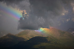 Heavy rainclouds and bright rainbows make for high meteorological drama in Katmai National Park.  Katmai is most famous for its salmon-catching brown bears, volcanoes, and rugged terrain.