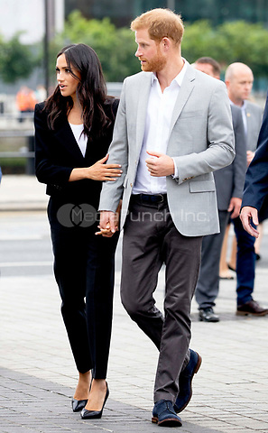 Prince Harry and Meghan, The Duke and Duchess of Sussex arrive at the EPIC Museum in Dublin, on July 11, 2018, the interactive museum tells the story of the 10 million Irish people who have emigrated across the world, on the last of a 2 days visit to Dublin  <br /> Photo : Albert Nieboer / /DPA /MediaPunch ***FOR USA ONLY***