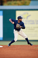 Mobile BayBears shortstop Alberto Triunfel (2) throws to first base during a game against the Pensacola Blue Wahoos on April 25, 2017 at Hank Aaron Stadium in Mobile, Alabama.  Mobile defeated Pensacola 3-0.  (Mike Janes/Four Seam Images)