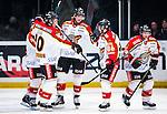 Stockholm 2014-01-08 Ishockey SHL AIK - Lule&aring; HF :  <br />   Lule&aring;s Daniel Gunnarsson har gjort 1-0 och jublar med lagkamrater Lule&aring;s Johan Fransson Lule&aring;s Linus Klasen och Lule&aring;s Chris Abbott <br /> (Foto: Kenta J&ouml;nsson) Nyckelord:  jubel gl&auml;dje lycka glad happy
