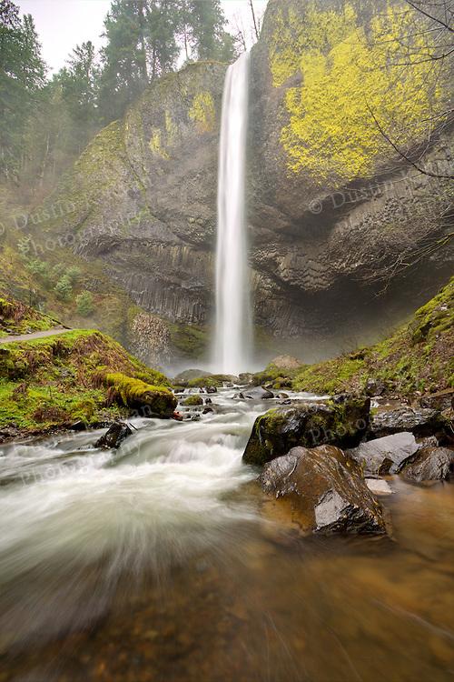 Latourell Falls Columbia River Gorge Oregon on a rainy day, spring 2011