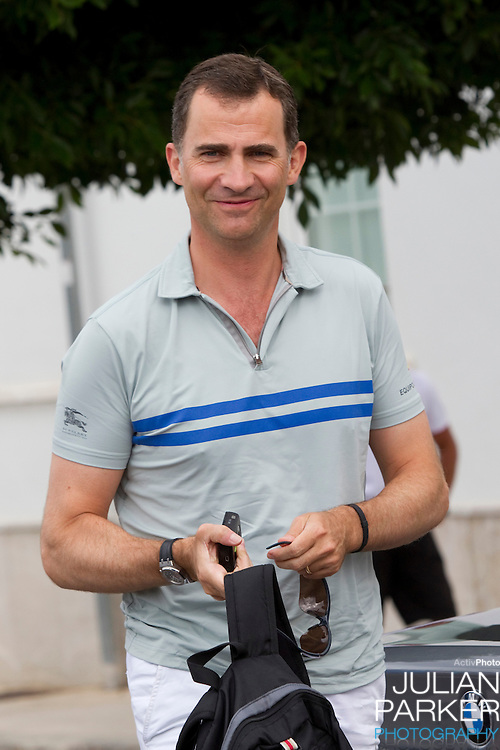 """Crown Prince Felipe of Spain, at The Royal Yacht Club, in Palma, Mallorca with the Yacht """" CAM """" and crew before competing in the third day of the Copa Del Rey sailing regatta"""