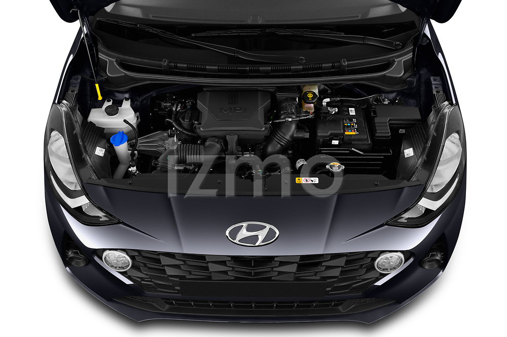 Car Stock 2020 Hyundai i10 Twist 5 Door Hatchback Engine  high angle detail view