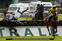 Jockey Johnny Levins takes a heavy fall from 'Flinski' in the Kerry Petroleum Arthur Blennerhassett Beginners Chase on the opening day of Tralee Races in 2006.<br /> Picture by Don MacMonagle