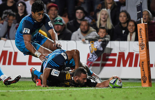08.04.2016. Hamilton, New Zealand.  Aaron Cruden scores a try during the Blues versus Chiefs Super Rugby match at Waikato Stadium, Hamilton, New Zealand. Friday 8 April 2016.