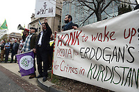 Washington, DC - March 31, 2016: A group against President Recep Tayyip Erdogan of Turkey protests outside of the Brookings Institution in the District of Columbia, March 31, 2016, ahead of Erdogan's speech at Brookings.  (Photo by Don Baxter/Media Images International)