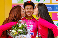 LA UNION - COLOMBIA, 16-02-2019: Julio Alexis Camacho (COL), Colpdeportes Zenu, celebra como líder de la motaña después de la quinta etapa del Tour Colombia 2.1 2019 con un recorrido de 176.8 Km, que se corrió con salida y llegada en La Union, Antioquia. / Julio Alexis Camacho (COL), Colpdeportes Zenu, celebrates as climbing leader after the fifth stage of 176.8 km of Tour Colombia 2.1 2019 that ran with start and arrival in La Union, Antioquia.  Photo: VizzorImage / Anderson Bonilla / Cont
