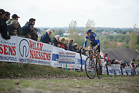Koppenbergcross 2013<br /> <br /> Helen Wyman (GBR) leading the race on the cobbles of the Koppenberg