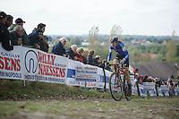 Koppenbergcross 2013<br /> <br /> Helen Wyman (GBR) leading the race on the cobbles of the Koppenberg