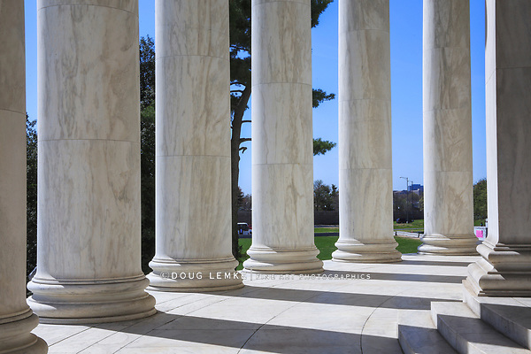 The marble columns of the Jefferson Memorial on a sunny spring day in Washington DC, USA