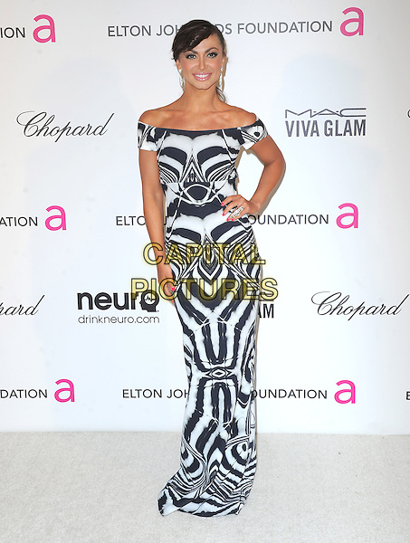 Karina Smirnoff.The 21st Annual Elton John AIDS Foundation Academy Awards Viewing Party held at The City of West Hollywood Park in West Hollywood, California, USA..February 24th, 2013.oscars full length black white off the shoulder pattern dress hand on hip.CAP/DVS.©DVS/Capital Pictures.
