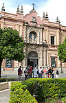 People outside the Museo de Bellas Artes, Museum of Fine Art, Seville, Spain