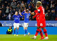 4th January 2020; King Power Stadium, Leicester, Midlands, England; English FA Cup Football, Leicester City versus Wigan Athletic; Marc Albrighton and Harvey Barnes of Leicester City celebrate after Tom Pearce of Wigan Athletic scores an own goal after 20 minutes (1-0) - Strictly Editorial Use Only. No use with unauthorized audio, video, data, fixture lists, club/league logos or 'live' services. Online in-match use limited to 120 images, no video emulation. No use in betting, games or single club/league/player publications