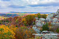 63895-16307 Camel Rock in fall color Garden of the Gods Recreation Area Shawnee National Forest IL