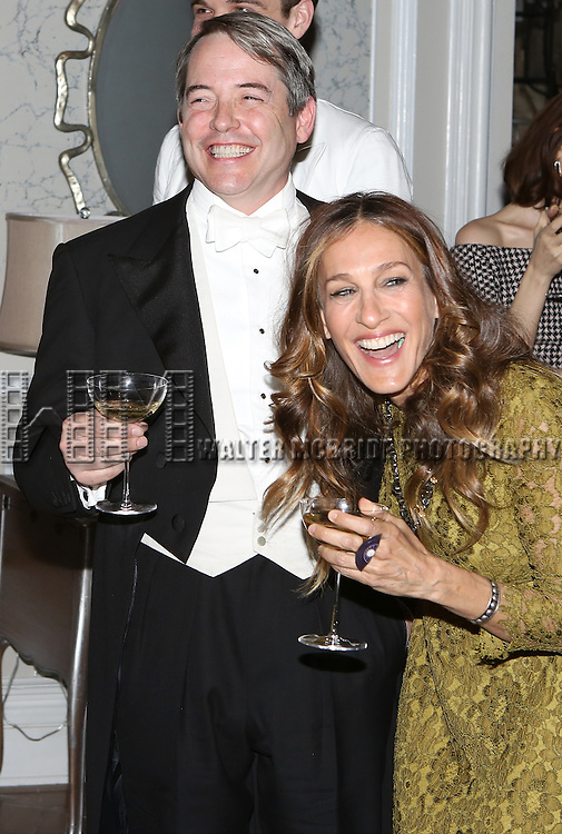 Matthew Broderick and Sarah Jessica Parker attend the re-opening night performance backstage reception for 'It's Only A Play' at the Bernard B. Jacobs Theatre on January 23, 2014 in New York City.