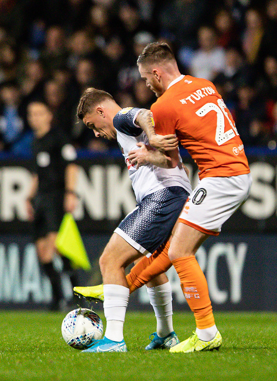 Bolton Wanderers' Thibaud Verlinden competing with Blackpool's Oliver Turton (right) <br /> <br /> Photographer Andrew Kearns/CameraSport<br /> <br /> The EFL Sky Bet League One - Bolton Wanderers v Blackpool - Monday 7th October 2019 - University of Bolton Stadium - Bolton<br /> <br /> World Copyright © 2019 CameraSport. All rights reserved. 43 Linden Ave. Countesthorpe. Leicester. England. LE8 5PG - Tel: +44 (0) 116 277 4147 - admin@camerasport.com - www.camerasport.com