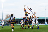 Michael Fatialofa of Worcester Warriors wins the ball at a lineout. Gallagher Premiership match, between Worcester Warriors and Bath Rugby on January 5, 2019 at Sixways Stadium in Worcester, England. Photo by: Patrick Khachfe / Onside Images