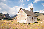 Historic old wooden Catholic Church at the cemetery, Creede, Colo.