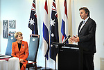 Mr Bert Koenders (R), Netherlands Minister of Foreign Affairs and Julie Bishop (L) Australian Minister for Foreign Affairs during a MOU at the Australian War Memorial, Canberra, Nov 2, 2016. AFP PHOTO/ MARK GRAHAM POOL