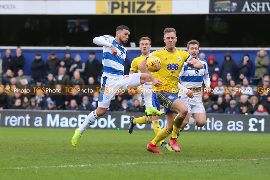 Nahki Wells of QPR has an effort saved by Lee Camp of Birmingham Cityduring Queens Park Rangers vs Birmingham City, Sky Bet EFL Championship Football at Loftus Road Stadium on 9th February 2019