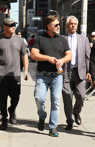 NEW YORK, NY-May 12: Russell Crowe at The Late Show with Stephen Colbert to talk his new movie The Nice Guys in New York. NY May 12, 2016. Credit:RW/MediaPunch