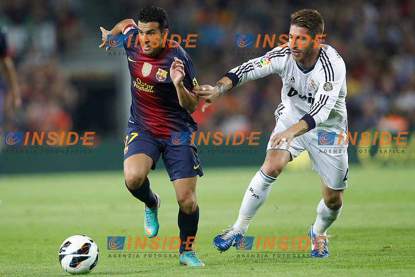 Barcelona's Pedro Rodriguez and Real Madrid's Sergio Ramos during la Liga match on october 7th 2012. ..Photo: Cesar Cebola  / ALFAQUI .Barcellona 7/10/2012 Camp Nou.Football Calcio 2012/2013 Liga.Barcellona Real Madrid.Foto Insidefoto / Alterphotos.ITALY ONLY