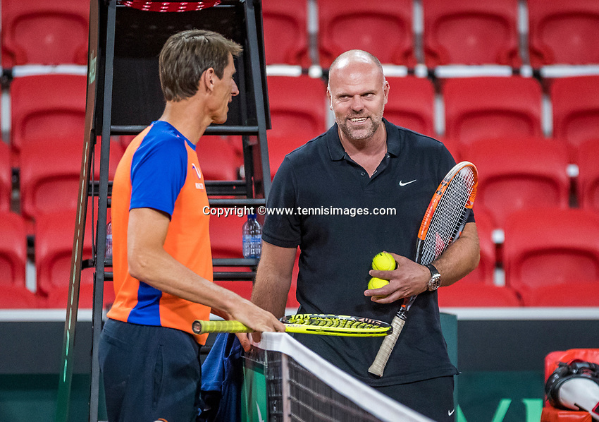 The Hague, The Netherlands, September 11, 2017,  Sportcampus , Davis Cup Netherlands - Chech Republic, training, Captain Paul Haarhuis (L)  and coach Raymond Knaap <br /> <br /> Photo: Tennisimages/Henk Koster