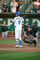 Brayan Morales (8) of the Ogden Raptors bats against the Great Falls Voyagers at Lindquist Field on August 16, 2017 in Ogden, Utah. The Voyagers defeated the Raptors 11-6. (Stephen Smith/Four Seam Images)