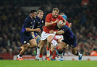 Wales' Ross Moriarty is tackled by Scotland's Alex Dunbar<br /> <br /> Photographer Ian Cook/CameraSport<br /> <br /> Under Armour Series Autumn Internationals - Wales v Scotland - Saturday 3rd November 2018 - Principality Stadium - Cardiff<br /> <br /> World Copyright &copy; 2018 CameraSport. All rights reserved. 43 Linden Ave. Countesthorpe. Leicester. England. LE8 5PG - Tel: +44 (0) 116 277 4147 - admin@camerasport.com - www.camerasport.com