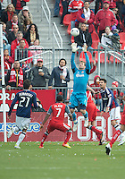 14 April 2012: Chivas USA goalkeeper Dan Kennedy #1in action during a game between Chivas USA and Toronto FC at BMO Field in Toronto..Chivas USA won 1-0.