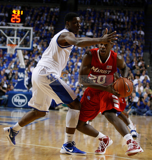 Terrence Jones guards Jay Bowie in the game against Marist College, at Rupp Arena, in Lexington, Ky., on Friday, Nov. 11, 2011. Photo by Latara Appleby | Staff ..