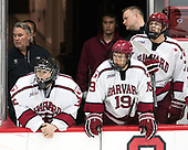 John O'Donnell (Harvard - Equipment Manager), Cameron Gornet (Harvard - 32), Jake Horton (Harvard - 19), Eddie Ellis (Harvard - 7) - The Harvard University Crimson defeated the US National Team Development Program's Under-18 team 5-2 on Saturday, October 8, 2016, at the Bright-Landry Hockey Center in Boston, Massachusetts.