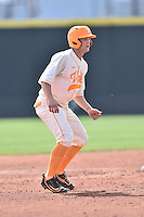 Tennessee Volunteers third baseman Nick Senzel (13) leads off second during game one of a double header against the UC Irvine Anteaters at Lindsey Nelson Stadium on March 12, 2016 in Knoxville, Tennessee. The Volunteers defeated the Anteaters 14-4. (Tony Farlow/Four Seam Images)