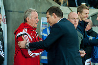 Swansea Caretaker Manager, Alan Curtis  and Manager of West Ham United, Slaven Bilic shake hands during the Barclays Premier League match between Swansea City and West Ham United played at the Liberty Stadium, Swansea  on December 20th 2015