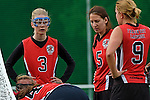 GER - Hannover, Germany, May 30: During the Women Lacrosse Playoffs 2015 match between DHC Hannover (black) and SC Frankfurt 1880 (red) on May 30, 2015 at Deutscher Hockey-Club Hannover e.V. in Hannover, Germany. Final score 23:3. (Photo by Dirk Markgraf / www.265-images.com) *** Local caption ***?(L-R) Caroline Herfarth #3 of SC 1880 Frankfurt, Sarah Bailly #5 of SC 1880 Frankfurt, Jaana Mattwig #9 of SC 1880 Frankfurt, Celina Aniolek #40 of SC 1880 Frankfurt