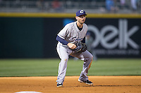 Columbus Clippers third baseman Ryan Rohlinger (2) on defense against the Charlotte Knights at BB&T BallPark on May 27, 2015 in Charlotte, North Carolina.  The Clippers defeated the Knights 9-3.  (Brian Westerholt/Four Seam Images)