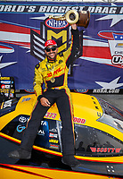 Sep 4, 2017; Clermont, IN, USA; NHRA funny car driver J.R. Todd celebrates after winning the US Nationals at Lucas Oil Raceway. Mandatory Credit: Mark J. Rebilas-USA TODAY Sports