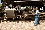 San Luis & Rio Grande Railroad  Railroad's No. 18 at the depot in La Veta, Colorado..(ALCO 2-8-0 ex Grand Canyon 18 and LS&I 18)