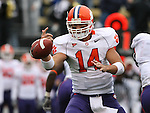07 October 2006: Clemson's Will Proctor fumbles the ball. The Clemson University Tigers defeated the Wake Forest University Demon Deacons 27-17 at Groves Stadium in Winston-Salem, North Carolina in an Atlantic Coast Conference NCAA Division I College Football game.