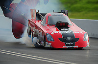 Jun. 19, 2011; Bristol, TN, USA: NHRA funny car driver Cruz Pedregon during eliminations at the Thunder Valley Nationals at Bristol Dragway. Mandatory Credit: Mark J. Rebilas-
