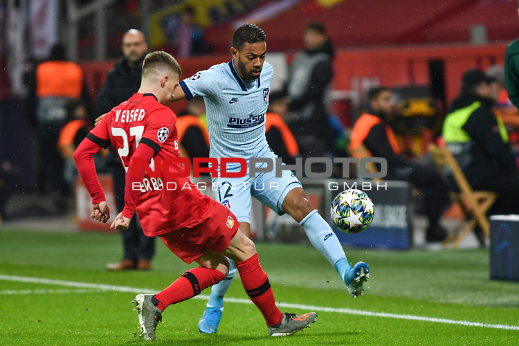 06.11.2019, BayArena, Leverkusen, GER, CL, Bayer 04 Leverkusen vs Atletico Madrid, UEFA regulations prohibit any use of photographs as image sequences and/or quasi-video <br /> <br /> im Bild v. li. im Zweikampf Mitchell Weiser (#23, Bayer 04 Leverkusen) Renan Lodi (#12, Atletico Madrid) <br /> <br /> Foto © nordphoto/Mauelshagen