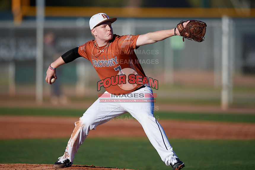 Jaxon Chaney during the Under Armour All-America Pre-Season Tournament, powered by Baseball Factory, on January 19, 2019 at Sloan Park in Mesa, Arizona.  Jaxon Chaney is a third baseman / right handed pitcher from Sulphur Springs, Texas who attends Sulphur Springs High School.  (Mike Janes/Four Seam Images)