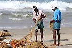 Fishermans working at Kovalam Beach, Kerala