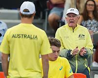 2nd Feb 2018, Brisbane, Australia;  Tennis Legend Tony Roche with his player ALEX DE MINAUR AUS during Davis Cup in the Pat Rafter Arena, Brisbane