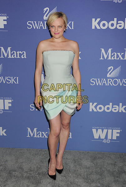 Elisabeth Moss<br /> arriving at Women In Film's 2013 Crystal and Lucy Awards at The Beverly Hilton Hotel in Beverly Hills, California, USA, June 12th, 2013.<br /> full length strapless mint green blue pastel mini dress corset top print ruched skirt tulip black pointy shoes <br /> CAP/ROT/TM<br /> &copy;Tony Michaels/Roth Stock/Capital Pictures