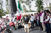 """June 23, 2018: Members of """"Batallon Xochiapulco"""" and supporters of Andres Manuel Lopez Obrador, an opposition candidate of MORENA party running for presidency, attend his campaign rally at Xanenetla park in Puebla City, Mexico. National elections will be hold on July 1."""
