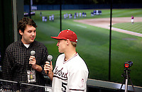 STANFORD, CA - March 29, 2011: Zach Jones of Stanford baseball talks with the Stanford All-Access webcast after Stanford's game against St. Mary's at Sunken Diamond. Stanford won 16-14.