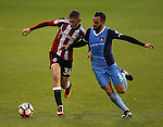 David Brooks of Sheffield Utd tussles with Robbie Weir of Leyton Orient during the Emirates FA Cup Round One match at Bramall Lane Stadium, Sheffield. Picture date: November 6th, 2016. Pic Simon Bellis/Sportimage