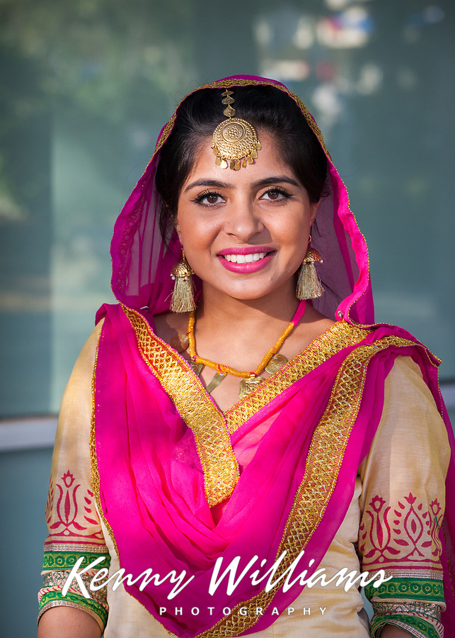 Beautiful Indian Woman Wearing Pink & Gold Traditional Clothing, Renton Multicultural Festival 2017, WA, USA.